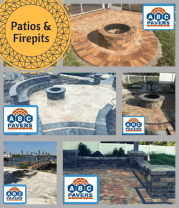 Patio Firepits Paver Travertine Design Ideas installed by contractor ABC PAVERS