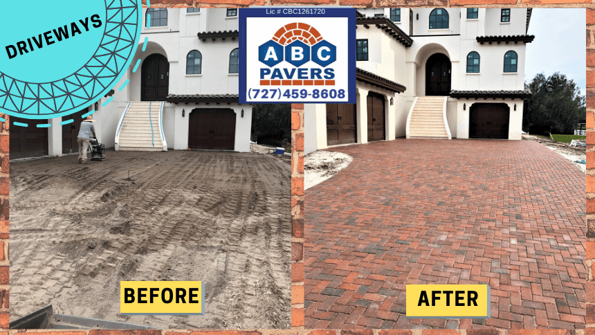 Brick-Pavers-driveway-installed-by- ABC-Pavers-before-after-1